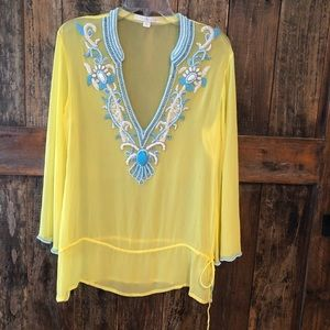 Boston Proper, L, Yellow & Turquoise Cover-up
